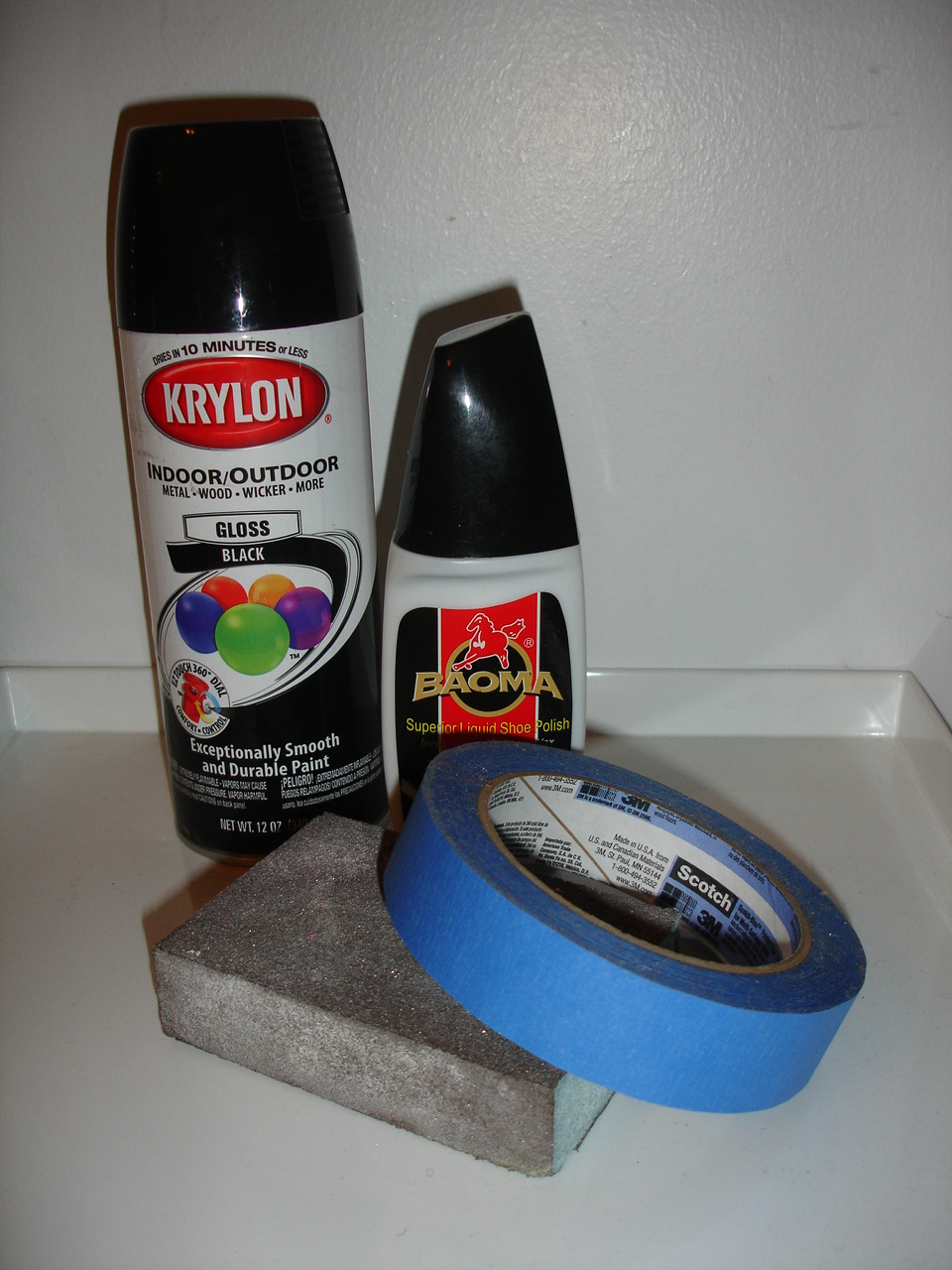then i picked up some black krylon spray paint and black shoe polish. Black Bedroom Furniture Sets. Home Design Ideas