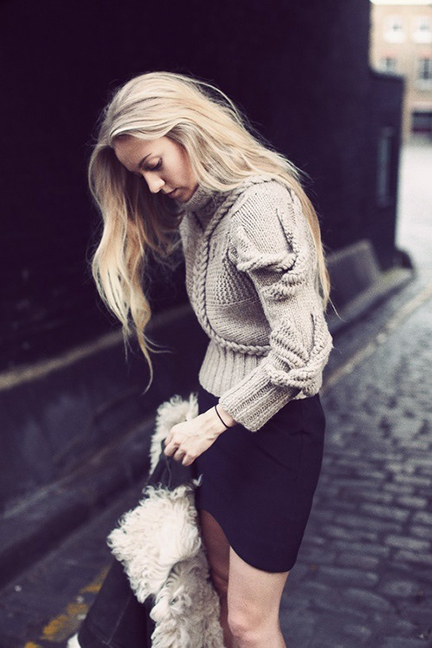 Wintery Mix:  Chunky Sweater and slim skirt