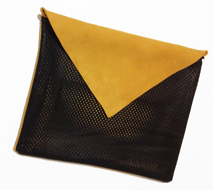 DIY Perforated Leather and Suede Envelope Clutch