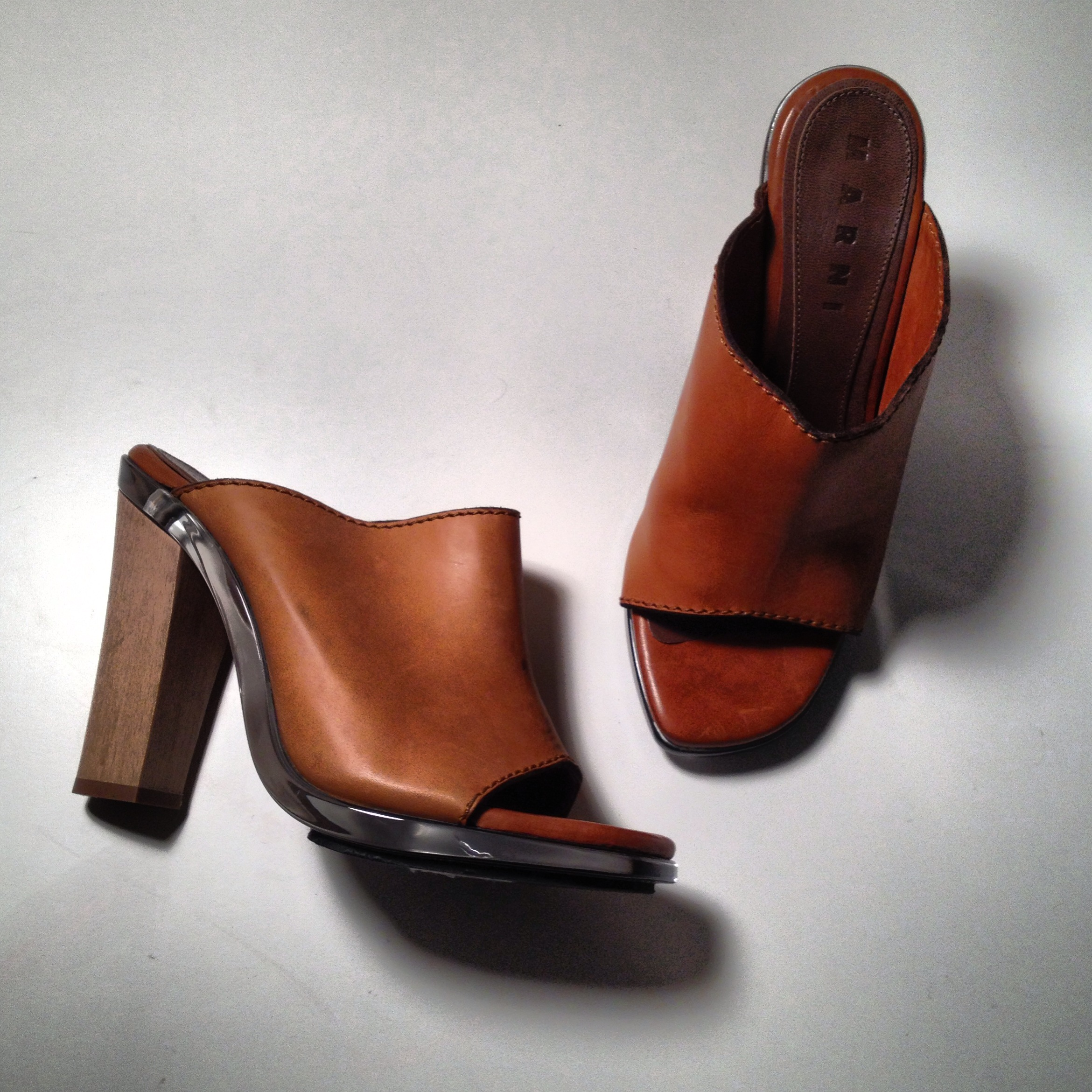 Wood, Lucite and Leather Marni Sandals | DeSmitten Design Blog