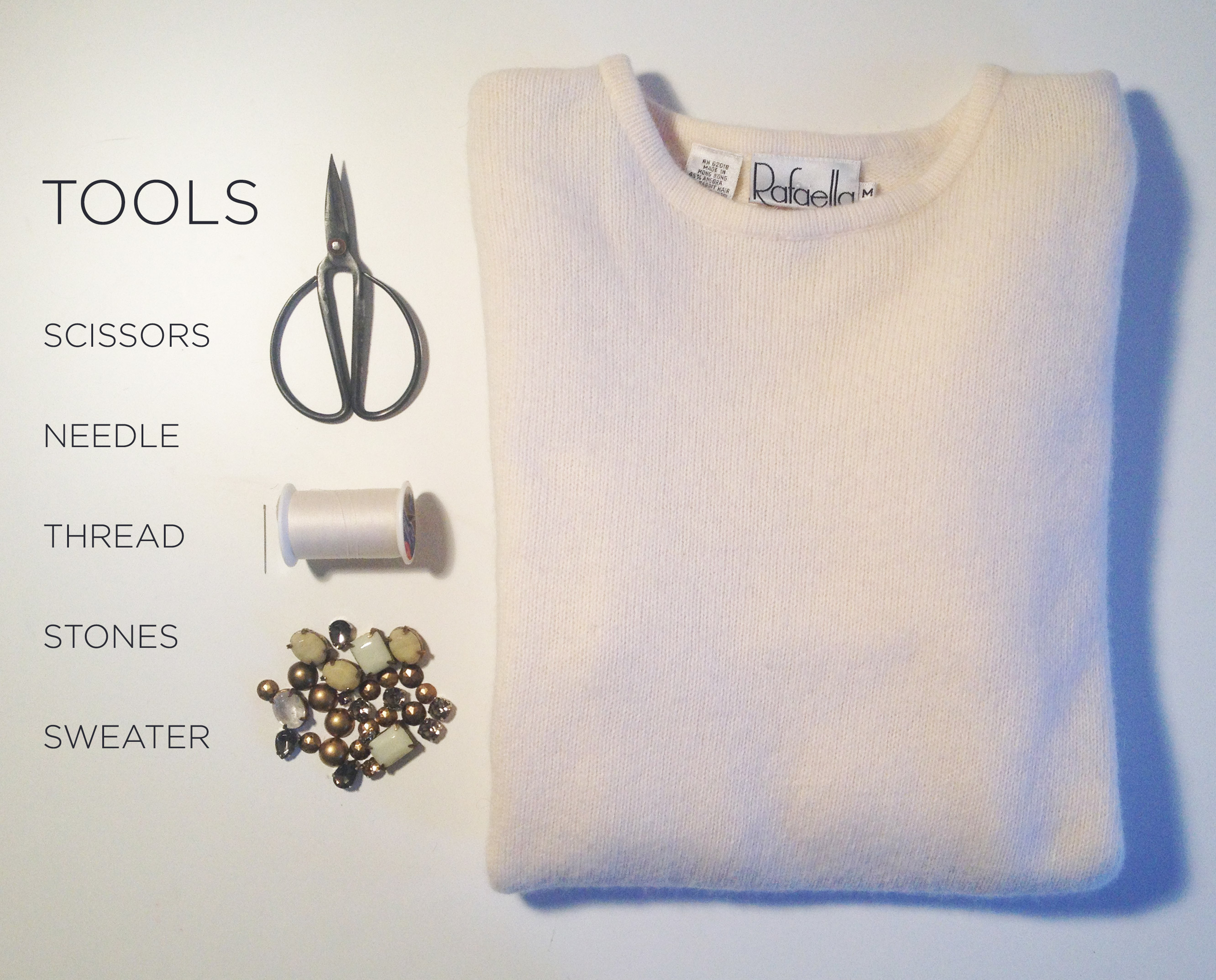 TOOLS FOR EMBELLISHED SWEATER DIY | DeSmitten Design Blog